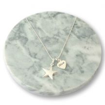 Sterling Silver Star Necklace with Memorial Engraving